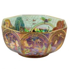 """A rare Wedgwood Fairyland Lustre octagonal bowl decorated with """"Gargoyles"""" on the outside and """"Bird in a Hoop"""" and """"Rainbow Landscape"""" inside, Portland vase mark, circa 1920"""