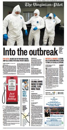 The front page of The Virginian-Pilot from Thursday, October 16, 2014.