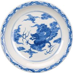Japanese blue and white porcelain plate with a dragon pattern circa 19th century
