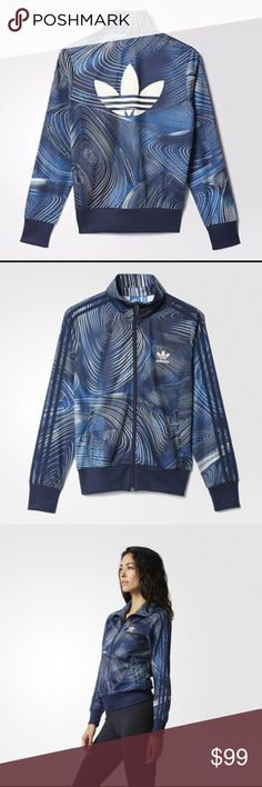 NWT ADIDAS ORIGINALS GEOLOGY TRACK JACKET BLUE GEOLOGY FIREBIRD TRACK JACKET ICONIC FIREBIRD TRACK JACKET STYLE WITH ALLOVER BLUE GEOLOGY GRAPHICS. This women's track jacket covers the iconic Firebird silhouette with an intense mineral-blue colour and an organic pattern inspired by agate gemstones. Each print is randomly placed for a one-of-a-kind look. Trefoil details on the front and back complete the sporty-chic look. Adidas Jackets & Coats