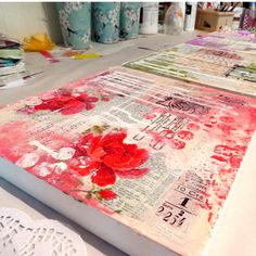 mixed media art Making mixed media backgrounds! Artistic process, vintage papers, old books, sheet music.