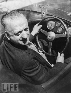 Enzo Ferrari, the Italian car designer, sits behind the wheel of one of his cars in April Ferrari died at the age of 90 on Aug. Maserati, Bugatti, Sport Cars, Race Cars, Alfa Cars, Car Fuel, Ferrari F1, Ferrari Scuderia, Racing Events