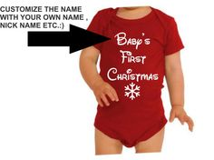 Baby's First Christmas Onesie One sie Customize with your own Name BodySuit Super Cute for your little ones very first Christmas New Born