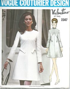 1970s Valentino of Italy Dress Vogue Couturier Design 2347 Pattern Bust 34  $60.00  Visit us: https://champagnevintagechic.com