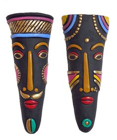 Pair of Tribal Masks - Wall Hanging (Terracotta)