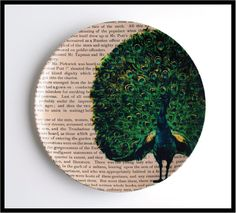 """Peacock 10"""" Dinner Plate Upcycled Dictionary Art Print Vintage Book Print Antique Book page"""