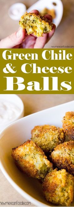 Green Chile and Cheese Appetizer balls Mexican Appetizers, Cheese Appetizers, Finger Food Appetizers, Appetizer Recipes, Appetizer Party, Dinner Recipes, Delicious Appetizers, Wedding Appetizers, Cheese Food