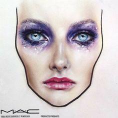 MAC face chart by Amalia Bot Mac Face Charts, Makeup Face Charts, Body Makeup, Mac Makeup, Makeup Inspo, Makeup Inspiration, Dark Lipstick, Make Up Art, Too Faced