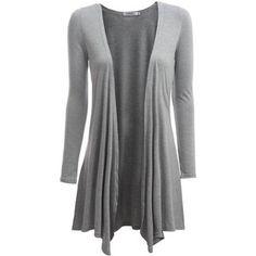 Doublju Womens Long Sleeve Knit Drape Shawl Open Cardigans