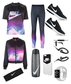 """nike print  workout"" by charlyebarley on Polyvore featuring NIKE and Audio-Technica"