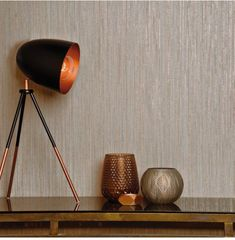 visit our website for the latest home decor trends . Gold Textured Wallpaper, Gold Mirror Wallpaper, Desk Lamp, Table Lamp, Rose Gold Texture, Wall Treatments, Home Decor Trends, Stripes Design, Home Accents