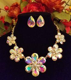 Floral AB Crystal Statement Necklace Set