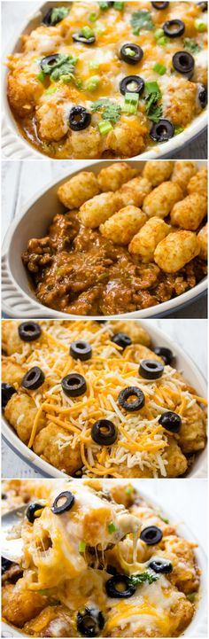 Super easy and Delicious Tater Tot Enchilada Bake. Haven't read the recipe, but it triggered a thought: refried beans on the bottom, hamburger mixed with enchilada sauce next, then tots, then cheese. Easy and yum! Think Food, I Love Food, Good Food, Yummy Food, Food For Thought, Beef Recipes, Mexican Food Recipes, Cooking Recipes, Recipies
