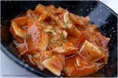Oreja de cerdo en salsa