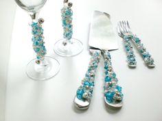 #Tiffany Blue CUSTOM #Wedding Serving Set  by #BlingForTheTable, $169.97