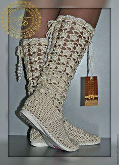 """Обувь ручной работы. Ярмарка Мастеров - ручная работа. Купить Сапожки """"Ажур"""". Handmade. Белый, летняя обувь, вязаные сапожки"""