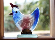 Fused Glass  chicken Sculpture by virtulyglass on Etsy, $26.00