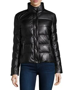 Faux-Leather Quilted Puffer Jacket  by Neiman Marcus at Neiman Marcus.