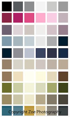 Colour Palette to help when selecting colours of clothes for your photo shoot  Copyright Zoe Photography, Liverpool