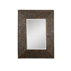 Uttermost Knotted Rectangular Beveled Rattan Mirror in Antiqued Gold