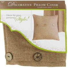 """Beige 16"""" x 16"""" Linen Pillow Cover with Buttons"""