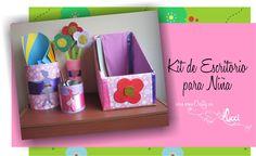 """KIT PARA ESCRITORIO Este es un lindo juego de portalibros, lapicero, florero y portapapeles con tema """"Bailarina"""". Anímate, mira cómo de sencillo es. Visita el blog."""