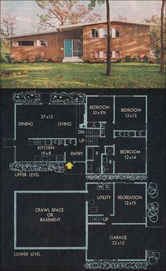 Better Homes split level mid century modern floor plan. Sims House Plans, New House Plans, Luz Natural, Split Level House Plans, Vintage House Plans, Vintage Homes, Modern Floor Plans, Mcm House, Mid Century House
