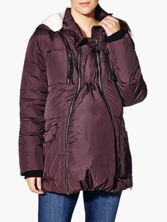 Maternity Winter Coat with Extender Panel available at Thyme Maternity