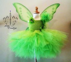 Tinkerbell Tutu Costume Dress Pink Flower 14 inch by LolaJBoutique
