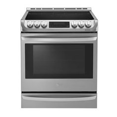 LG 30-in Smooth Surface 5-Element 6.3-cu ft Slide-in Convection Electric Range (Stainless Steel)