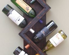 Wall Wine Rack 5 Bottle Holder Storage Display by AdliteCreations
