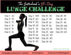 30-Day Lunge Challenge #shrinkingjeans #workoutcalendar #fitness