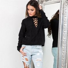 Sexy Sweaters Women Pullover Knitwear Long Sleeve Cross Hollow Casual Loose Solid