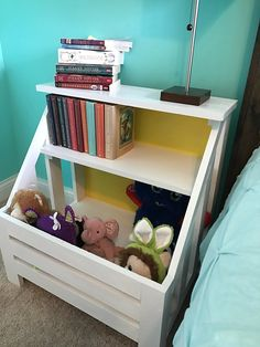 These DIY plans were so easy to follow! Learn how to build a bookshelf nightstand kids will love! They can even store their toys!