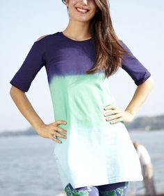 Another great find on #zulily! Deep Blue Sea Cold Shoulder Cutout Top - Plus Too #zulilyfinds