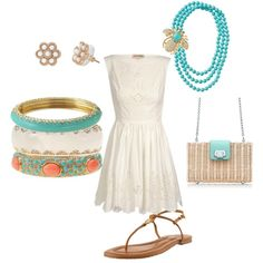 "Great combination of white with a pop of turquoise and coral color! Featuring Stella & Dot ""La Coco Rope Neclace"", ""Paige Enamel Bangles"", and ""Paradise Studs"""