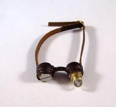Miniature Medieval Leather Steampunk Goggles Ooak Dollhouse Mini