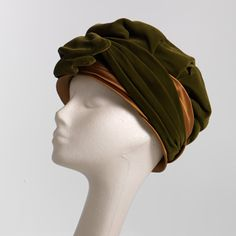 Green Velvet and Gold satin 1950's turban by TheRetroRecollection, $70.00