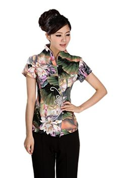 AvaCostume Women's Chinese Style Cap Sleeve Blouse Qipao Top Shirt Small Lotus. Chinese Frog Buttons. Chinese traditional style; Mandarin collar. This dress would decorate you be a very charming lady. Please refer to product description for detailed size information. Please find the matched pant,skirt or shoes in our stores.