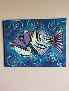 Fish painting original hand painted canvas fish art picasso