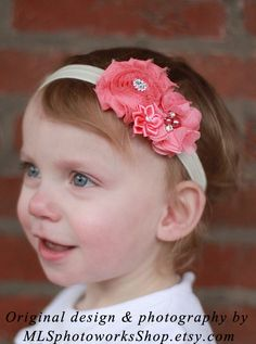 Soft & Shabby Spring Coral Pink Headband - Baby Girl Coral Colored Hair Bow with Sparkly Accents - Infant Easter Dressy Headband. $7.00, via Etsy.
