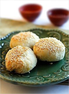 Chinese Biscuits:  These savory Chinese biscuits filled with chopped scallions. They are called 蟹壳黄, or literally yellow crab shell.