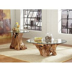 Buy and Save Winooski Root Ball Coffee Table Set By Union Rustic Woodworking Furniture Plans, Log Furniture, Business Furniture, Outdoor Furniture, Accent Furniture, Tree Trunk Table, Tree Stump Coffee Table, Coffee Table Sets, Driftwood Coffee Table