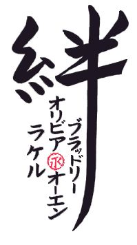 This design features kizuna meaning family bonds as the main kanji.  Each member of the family is written in the lower left. Katakana is the standard way names are translated to Japanese.  The parents names are to either side in a protective position. Safe between the parents are the two children's names. This design also includes a small red Eternity seal between the children's name.  Master Calligrapher Eri Takase.  http://www.takase.com/TattooDesign/TattooDesign.htm