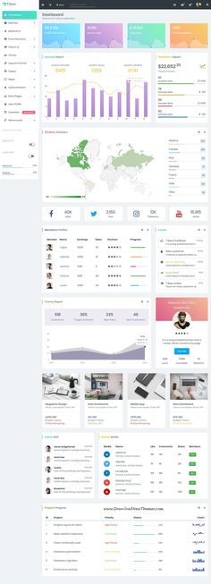 Falcon is clean and modern design responsive bootstrap #dashboard #template for custom #admin panels, CMS, #CRM, SaaS, and web applications website to live preview & download click on Visit  #ui #uxdesign Custom Dashboard, Dashboard Template, Dashboard Design, Graphisches Design, Modern Design, Google Material Design, Ui Website, Web Project, Application Design