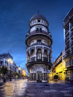 Sevilla, Avenida de la Constitución / Avenida de la Constitucion, house in the old part of town in the mudejar style, Sevilla, Andalucia, Spain by dleiva, via Flickr