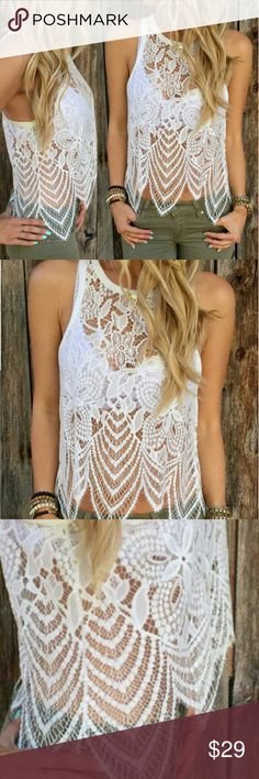 New! Crochet Lace sheer white delicate tank M/L Brand new! Beautiful piece to layer with a beautiful bralette or tank. Perfect for beach as well. Size large but runs mire like a medium  IMO. NO TRADES PLEASE DONT ASK! Tops Tank Tops