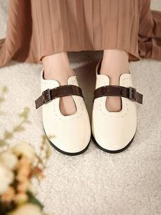 White with Chocolate Buckle Flat Shoes