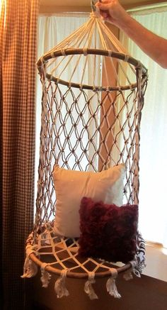 Sweet, Vintage Handmade Macrame Chair Swing in Beige/Brown -- Just in Time for Summer! #Handmade