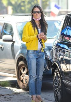 Jordana Brewster in cardigan and straight jeans | For more style inspiration visit 40plusstyle.com